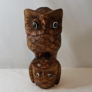 """WOOD OWLS LIGHTWEIGHT STATUE DECOR 9.5"""" TALL"""